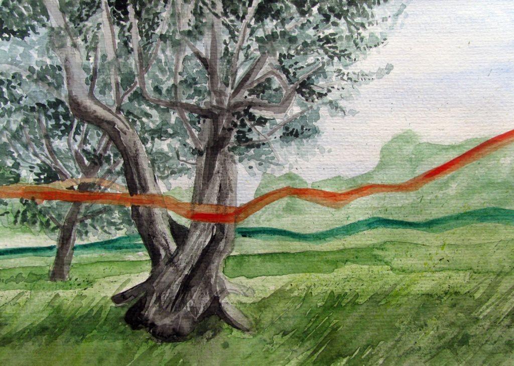 Frühlingsbänder (Aquarellpapier, 17x24cm)