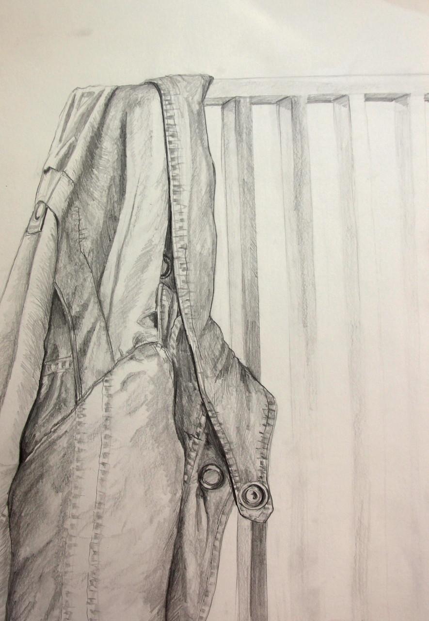 Jacke über Stuhl (Zeichenpapier, 30x40cm)