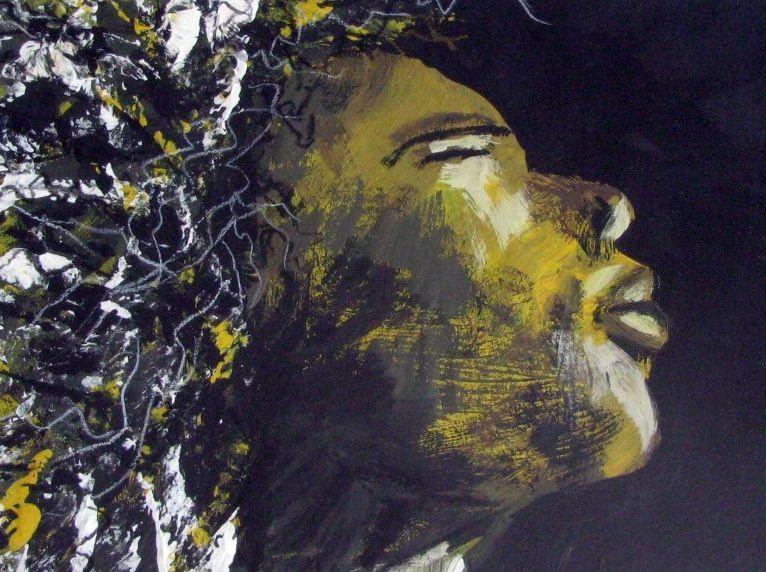 Goldenes Gesicht (Malkarton, 20x25)