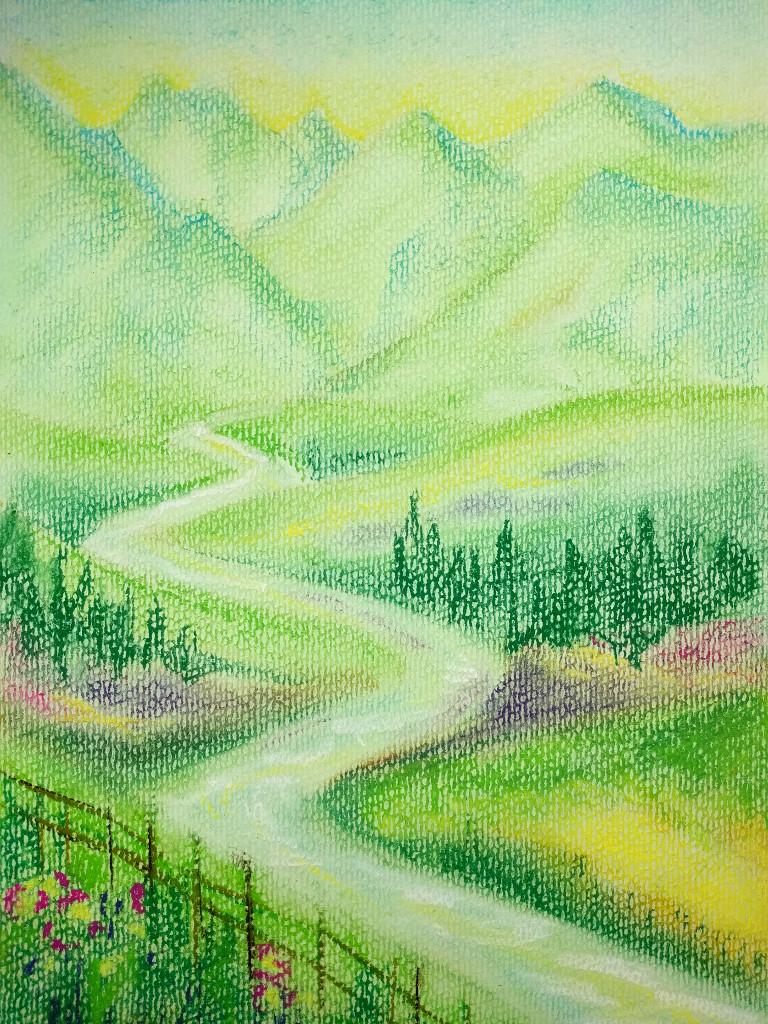 Märchenlandschaft (Pastellpapier, DIN A4)