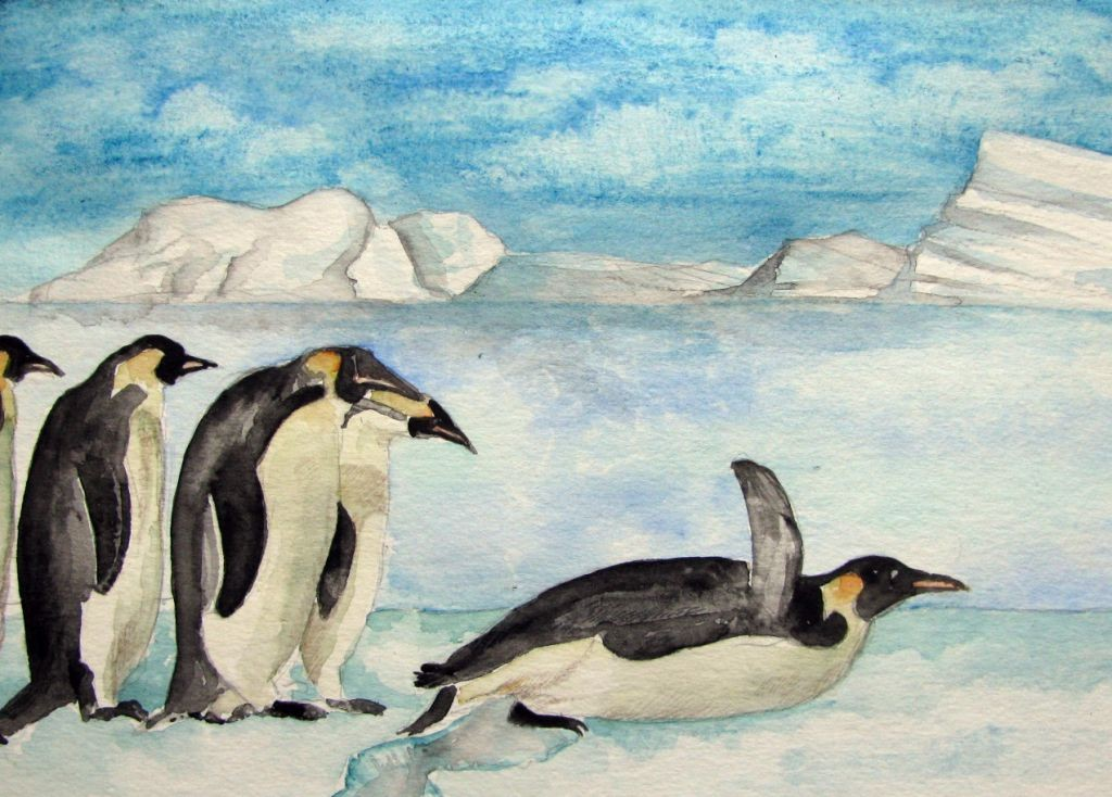 Pinguine (Aquarellpapier, 17x24cm)