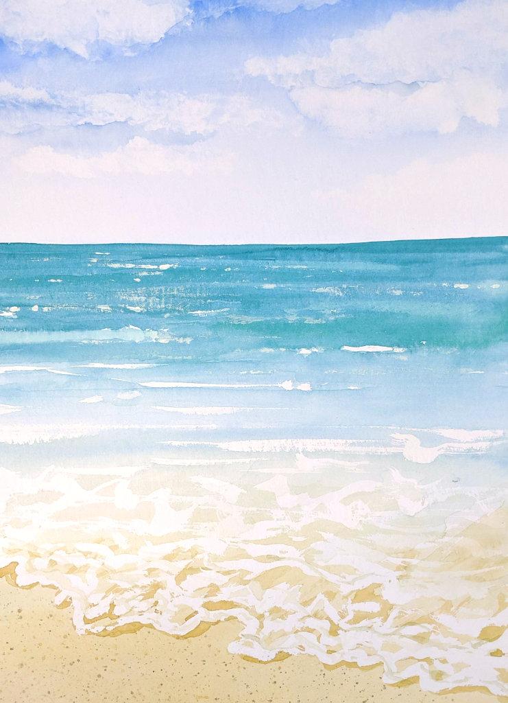 Meereswellen (Aquarellpapier, 24x32cm)