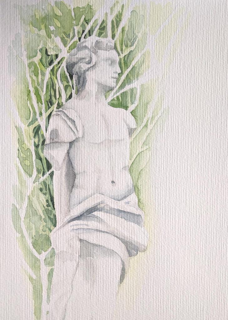 Statue im Ebenböckpark (Aquarellpapier, 24x32cm)
