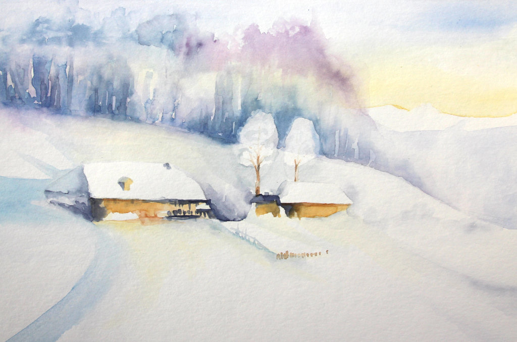 Winterlandschaft (Aquarellpapier, 30x40cm)