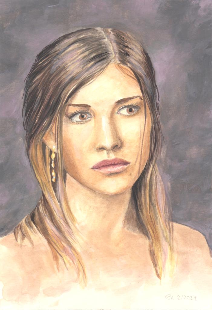Porträt in Gouache (Skizzenpapier, 13x20cm)