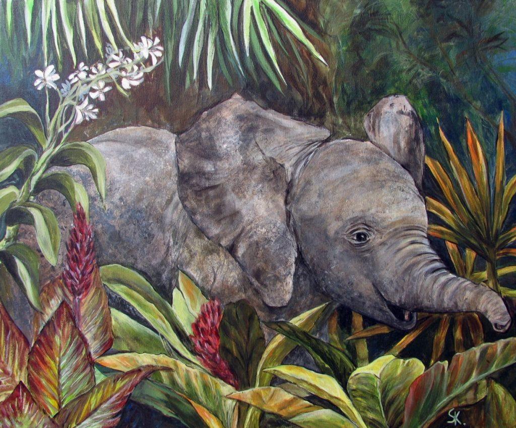 Elefant im Dschungel (Leinwand, 50x60cm)