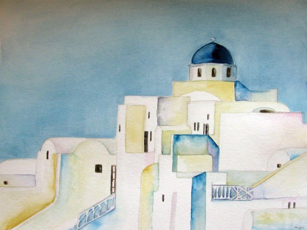 Griechisches Dorf (Aquarellkarton, 35x48cm)