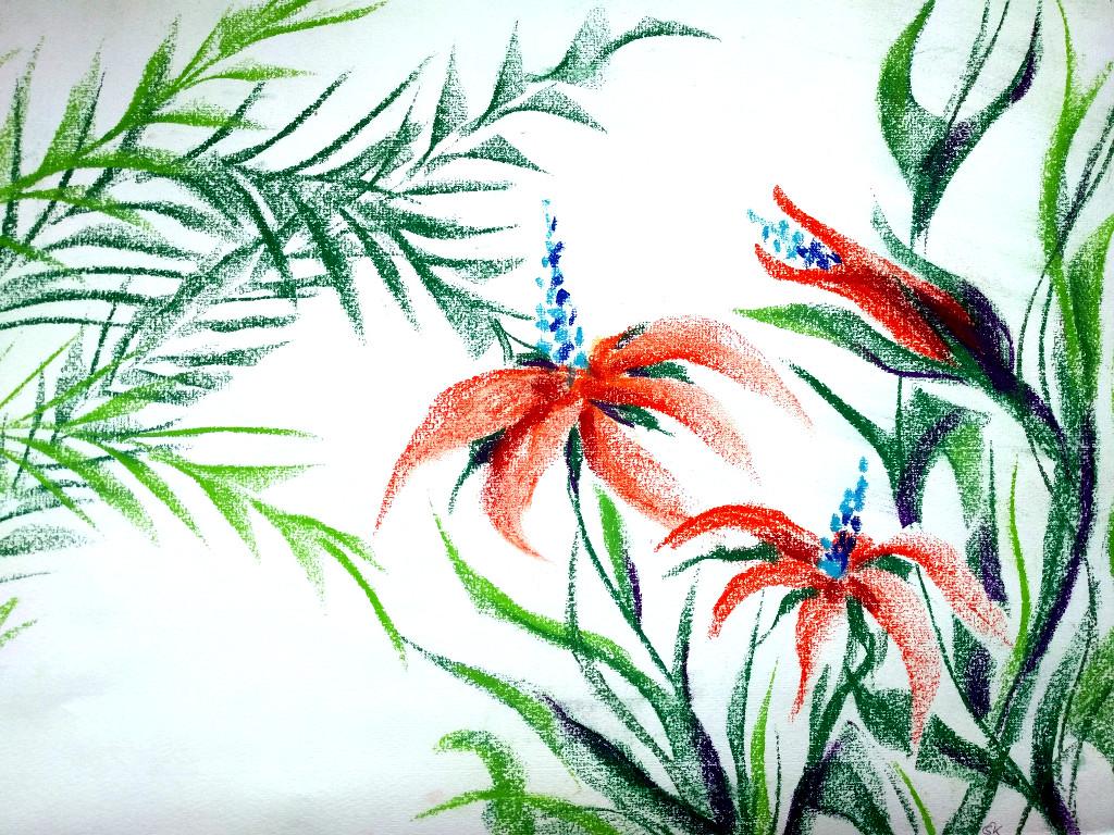 Tropenpflanze (Ingres, 30x40cm)