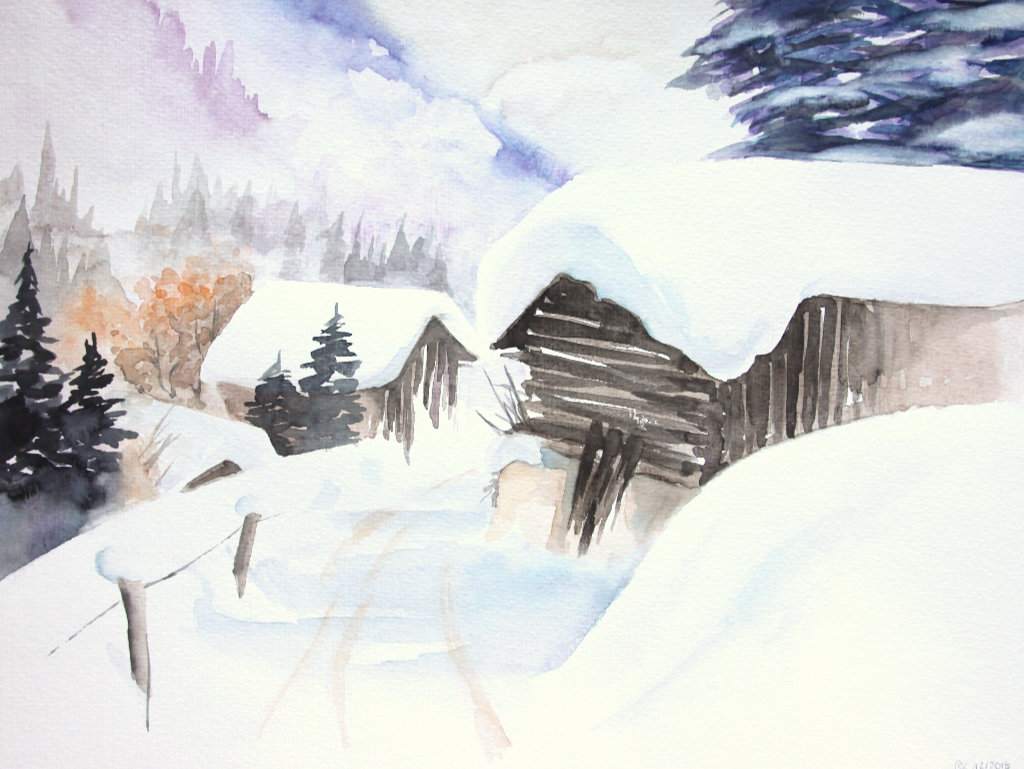 Winterpfad (Aquarellpapier, 30x40cm)