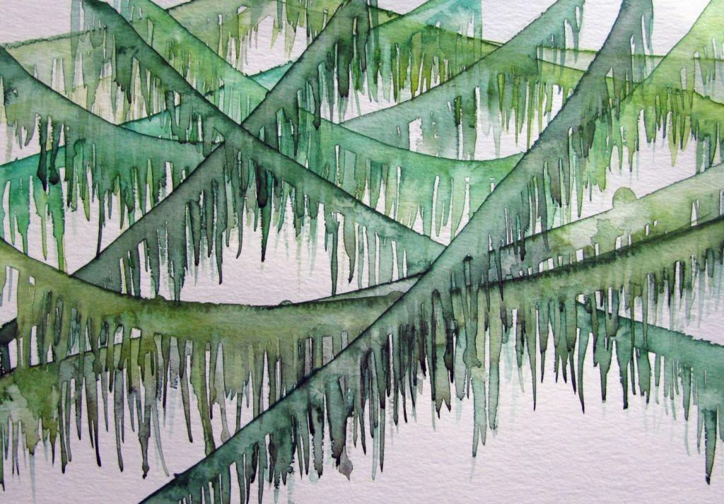Moosige Girlanden (Aquarellpapier, 17x24cm)