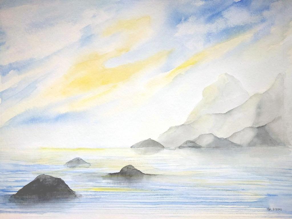 Gläserne Berge (Aquarellpapier, 30x40cm)