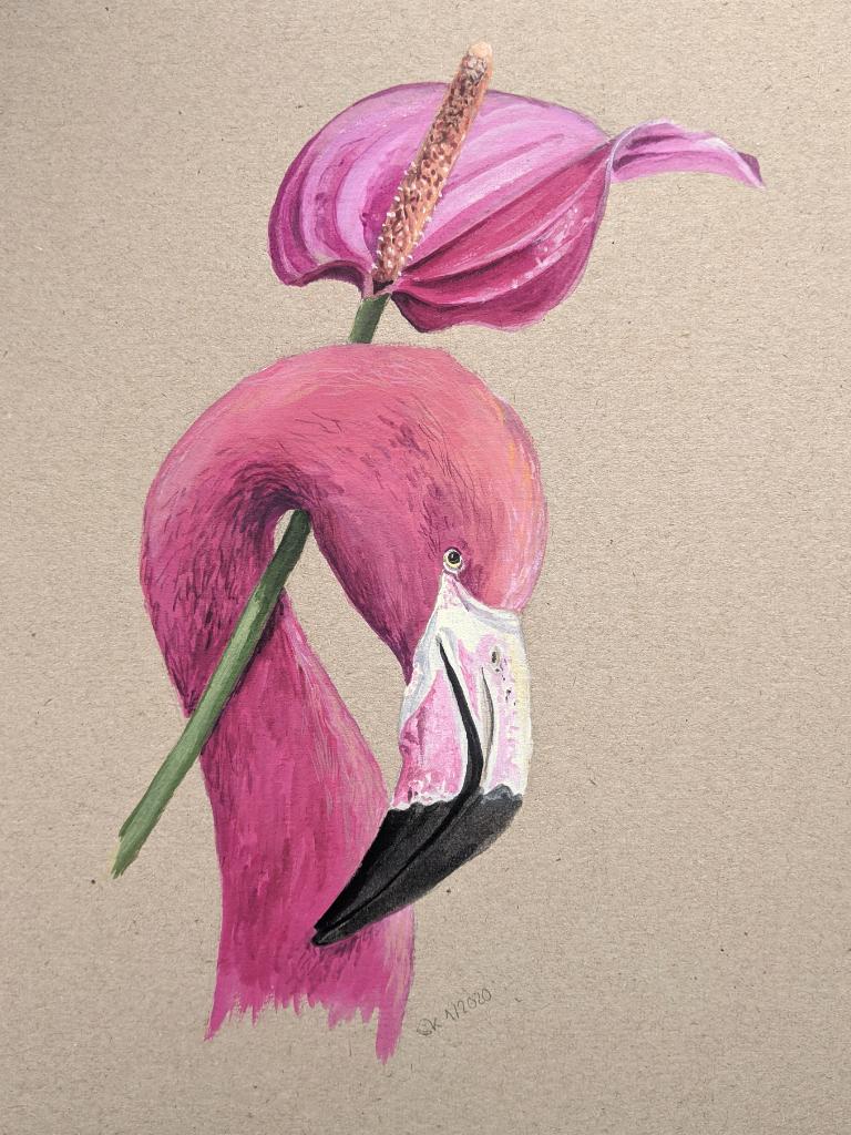 Flamingo und Flamingoblume (Graupappe, 20x30cm)