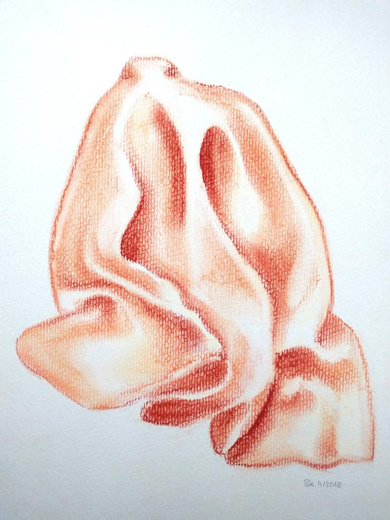 Orangenes Tuch (Ingres, 30x40cm)