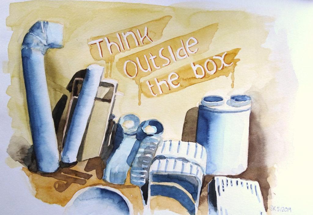 Think outside the box (Aquarellskizzenbuch)