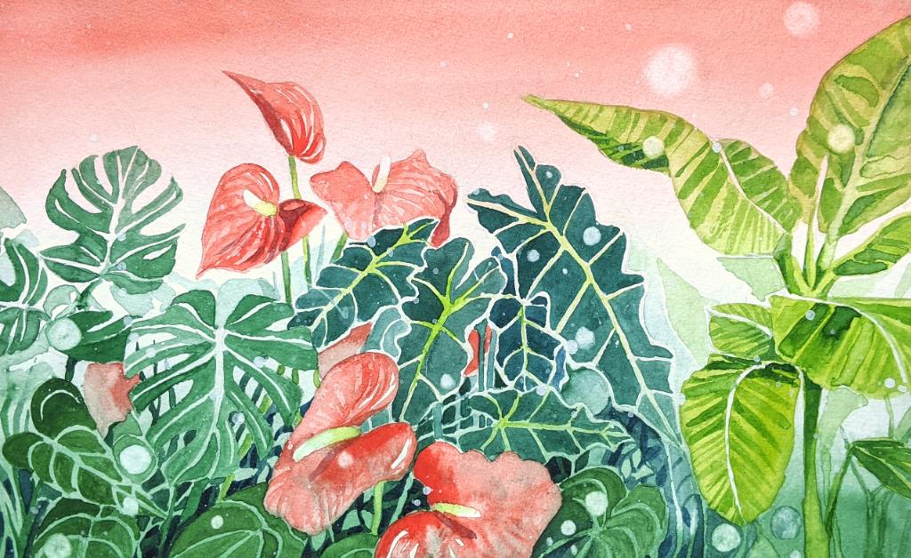 Tropenpflanzen (Aquarellpapier, 21x13cm)