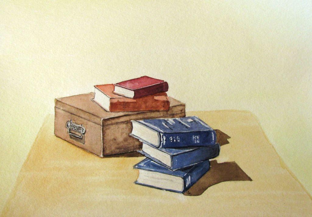 Alte Büchersammlung (Aquarellpapier, 17x24cm)
