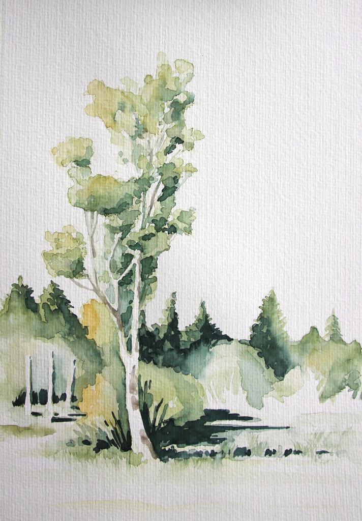 Baumlandschaft (Aquarellpapier, 15x20cm)