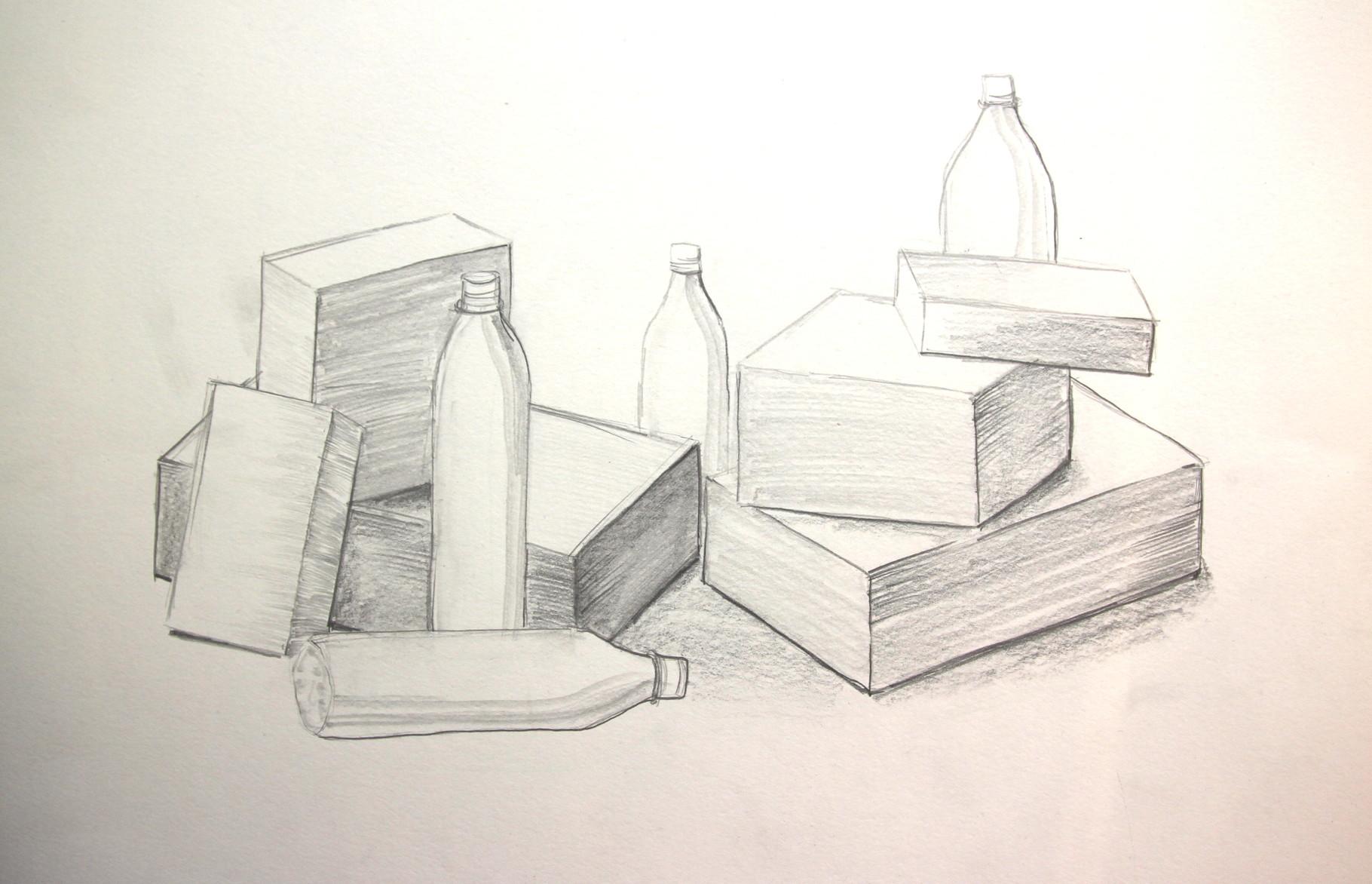 Arrangement mit Kartons und Flaschen (Zeichenpapier, 30x40cm)