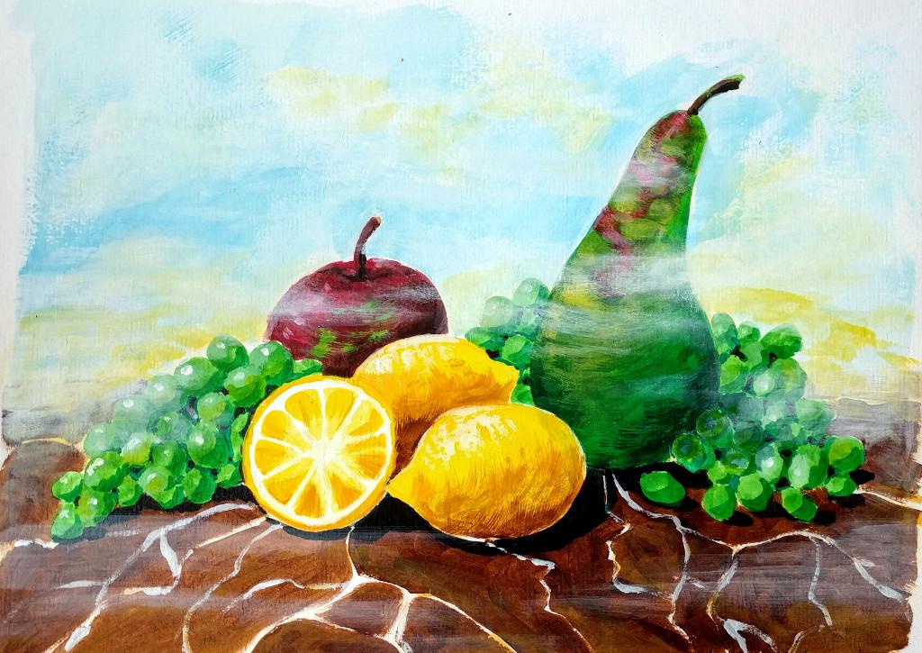 Stilleben mit Obst (Malkarton, 30x40cm)
