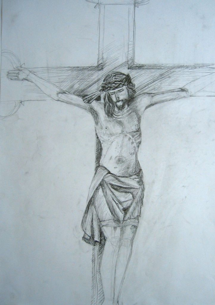 Jesus am Kreuz (Zeichenpapier, DIN A2)