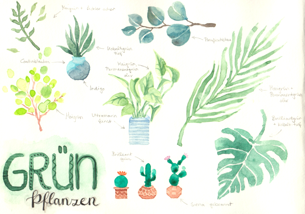 Grünpflanzen (Aquarellskizzenbuch)