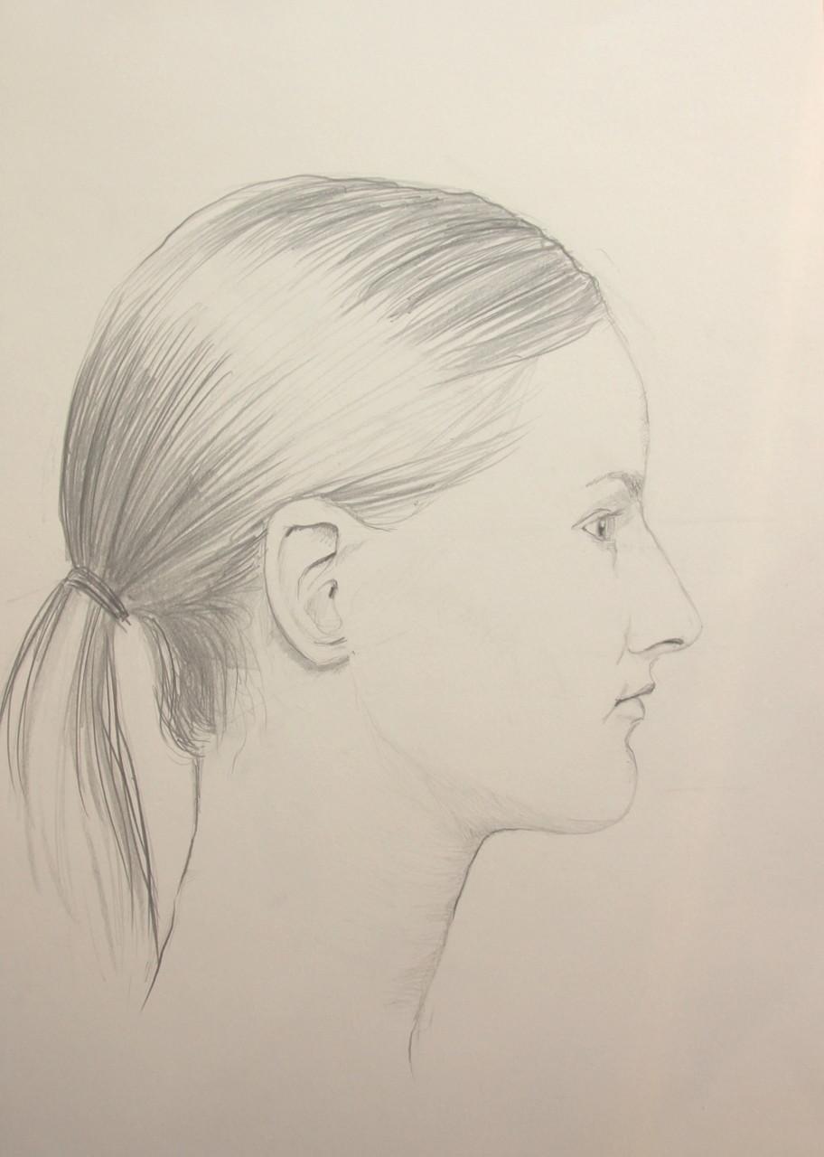 Model im Profil (Zeichenpapier, 30x40cm)