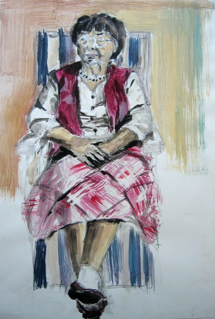 Alte Frau im Liegestuhl (Skizzenblock, 40x60cm)