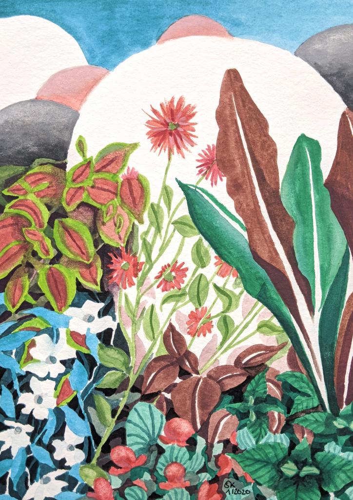Auf der Gartenschau (Aquarellpapier, 12x17cm)