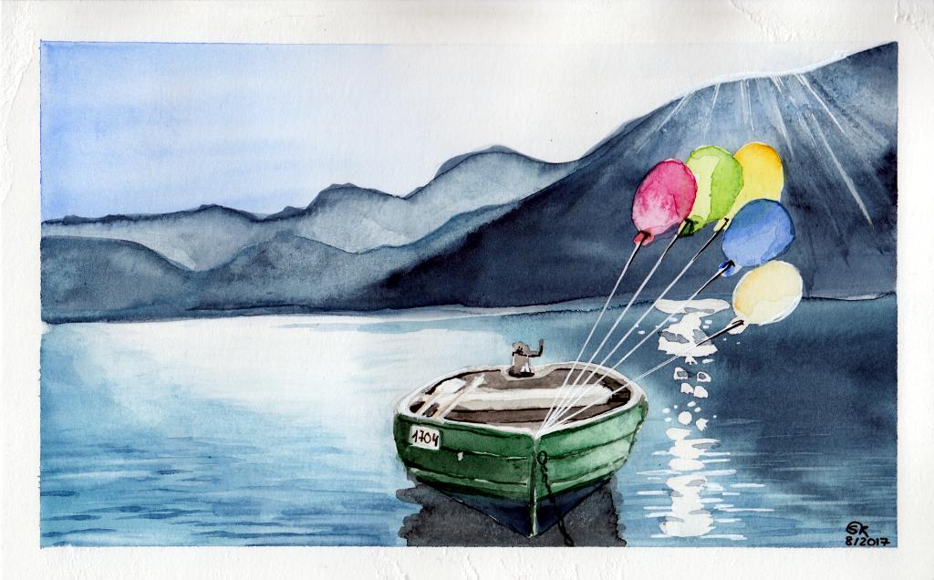 Ballonkraft (Aquarellpapier, 13x22cm)