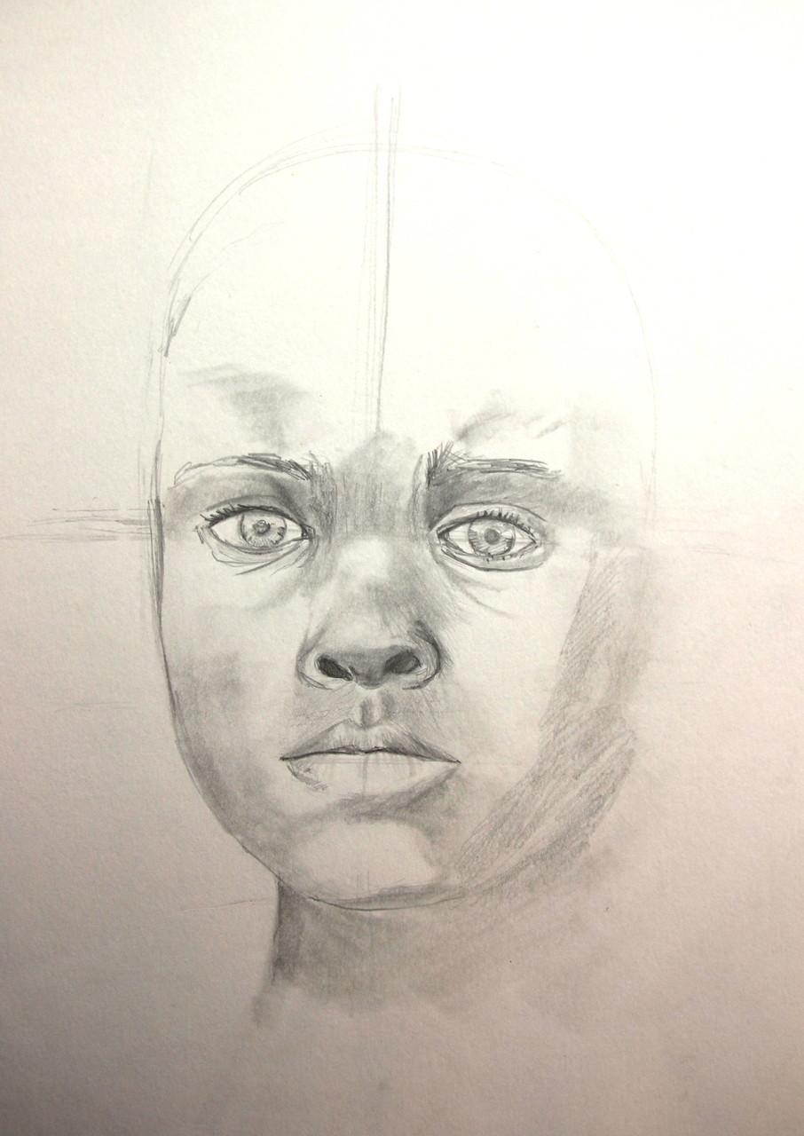 Afrikanisches Mädchen (Zeichenpapier, 30x40cm)