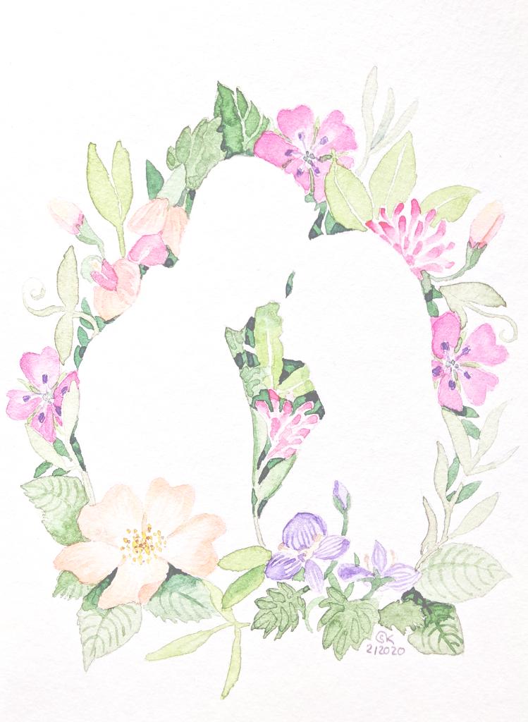 Hochzeitskarte (Aquarellpapier, 10x14cm)