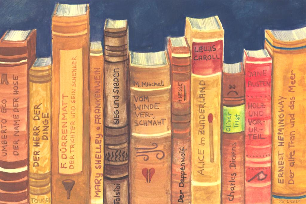 Büchersatire (Skizzenpapier, 13x20cm)