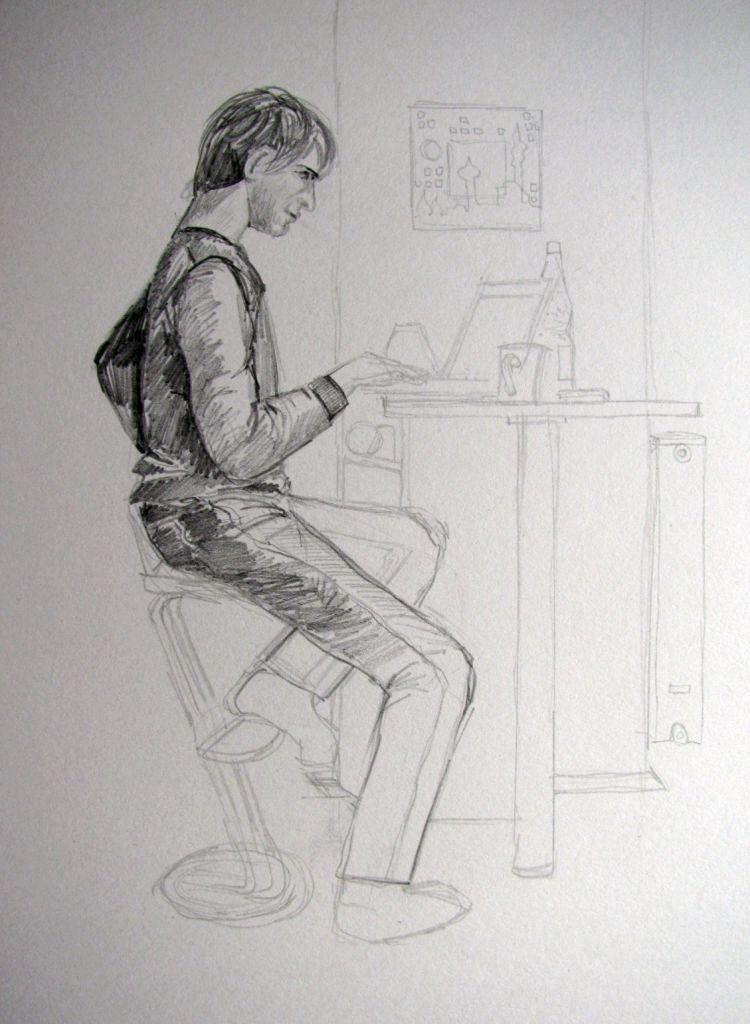 Adrian am Laptop (Zeichenpapier, 30x40cm)