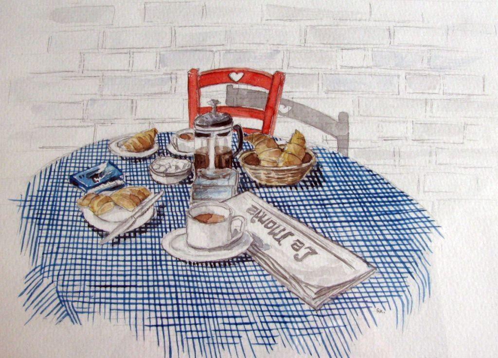 Frühstückstisch (Aquarellpapier, 17x24cm)