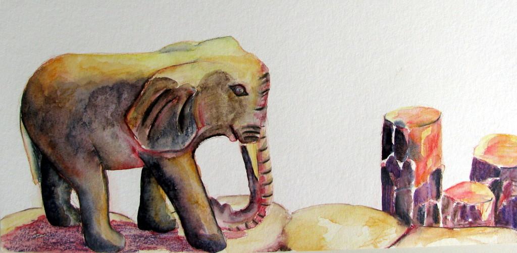 Steinelefant (Zeichenkarton, 30x40cm)