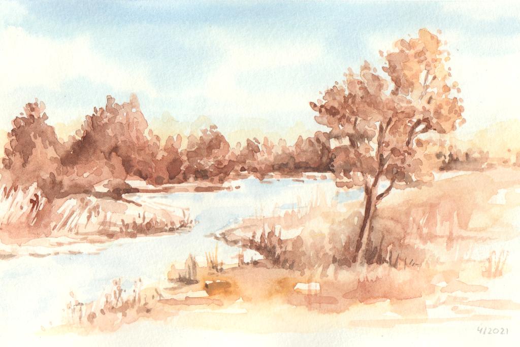 Flusslandschaft (Aquarellskizzenbuch)
