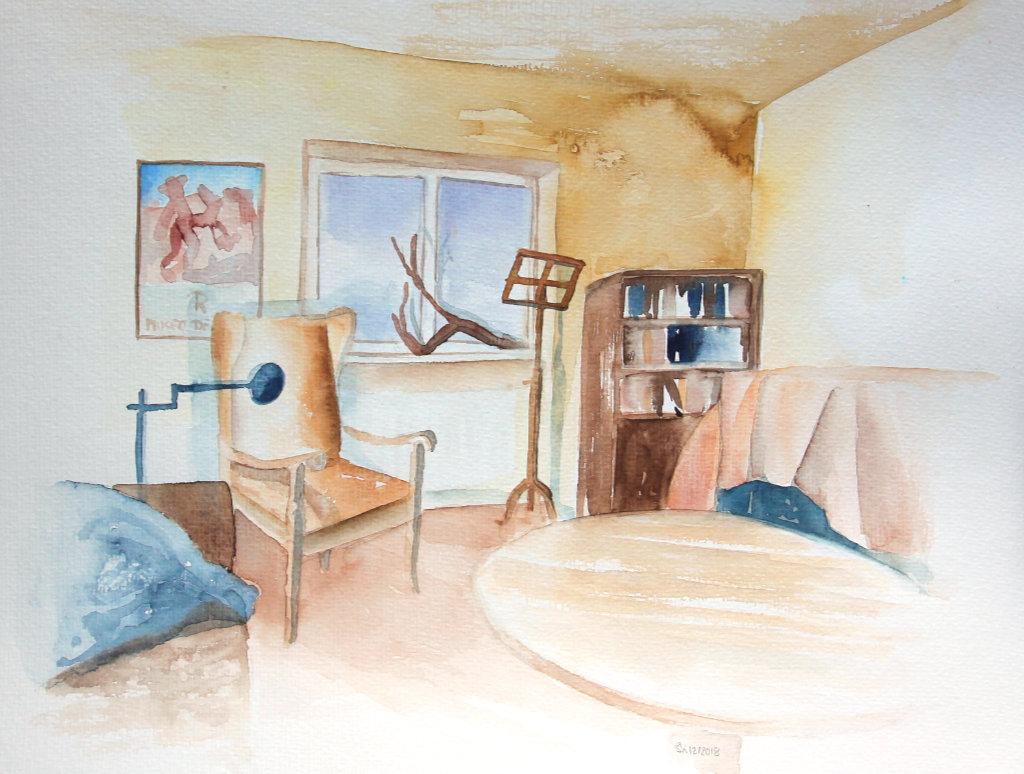 Wohnzimmer (Aquarellpapier, 30x40cm)