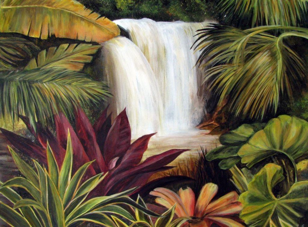 Wasserfall im Dschungel (Leinwand, 60x80)