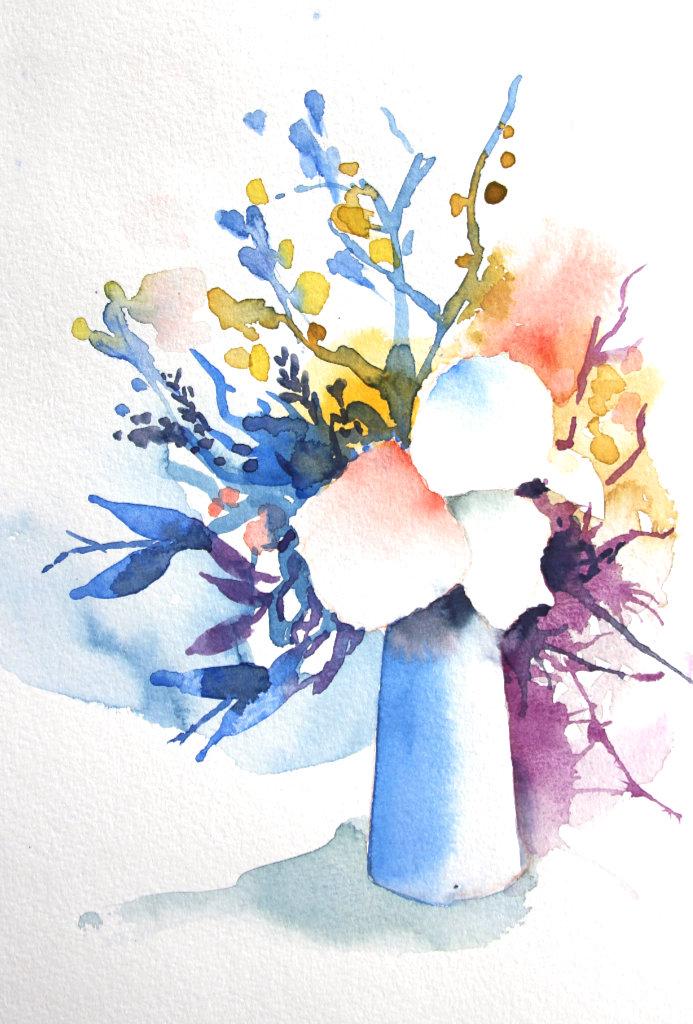 Blumenvase (Aquarellpapier, 23x16cm)