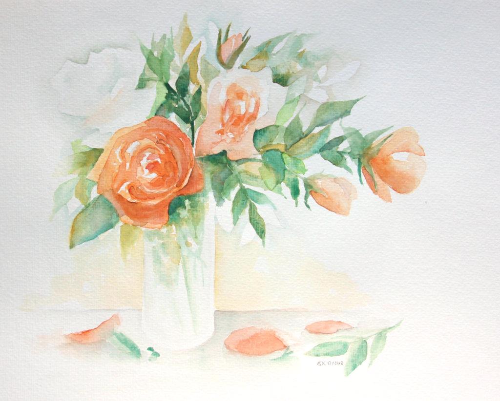 Rosenstrauß (Aquarellpapier, 30x40cm)