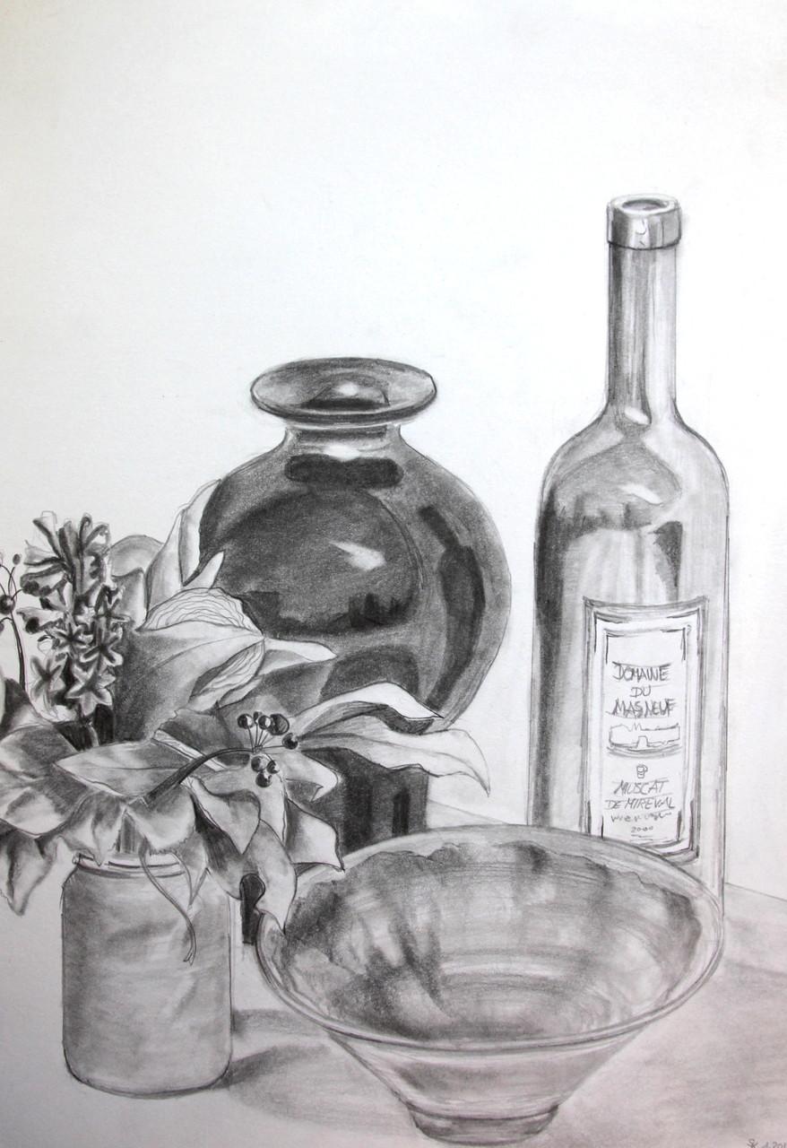 Stillleben mit Pflanze (Zeichenpapier, 30x40cm)