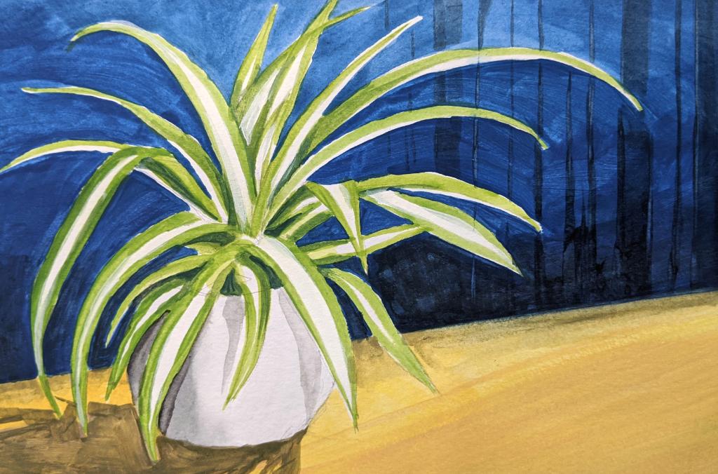 Grünlilie vor blauer Tapete (Aquarellskizzenbuch)