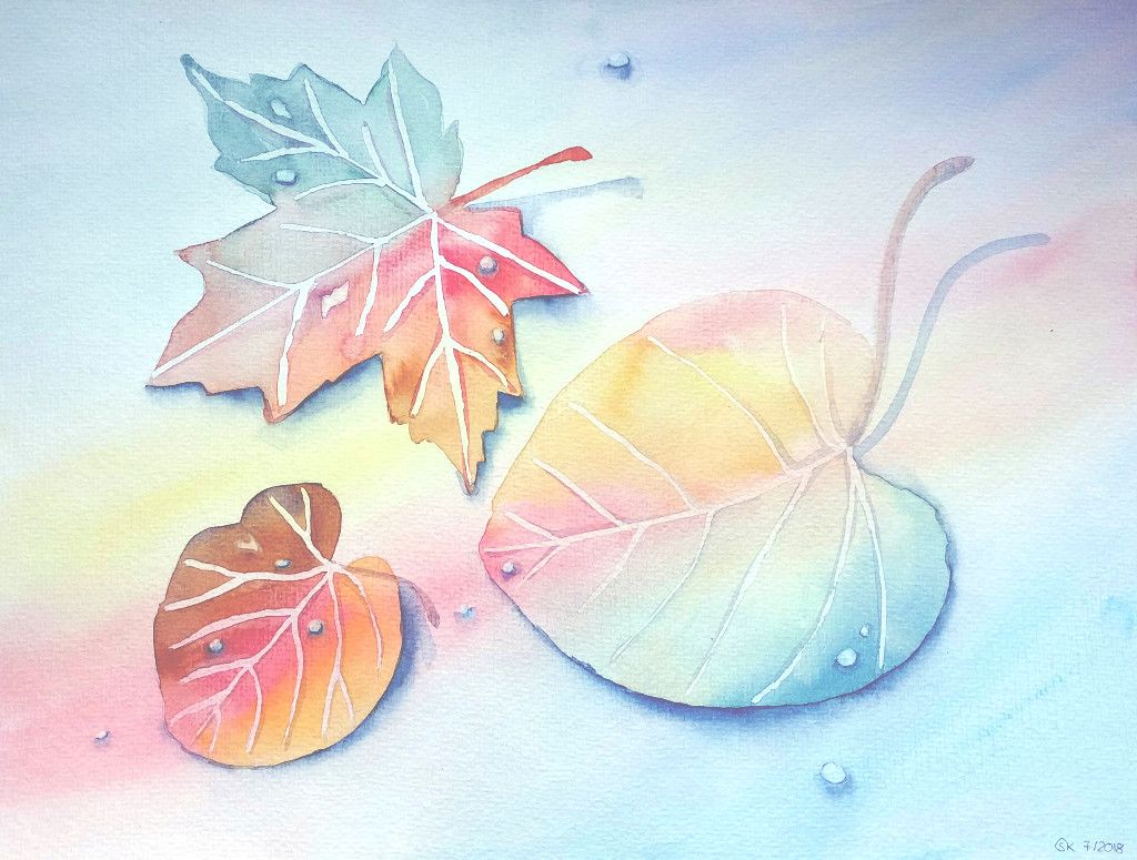 Regenbogenblätter (Aquarellpapier, 30x40cm)