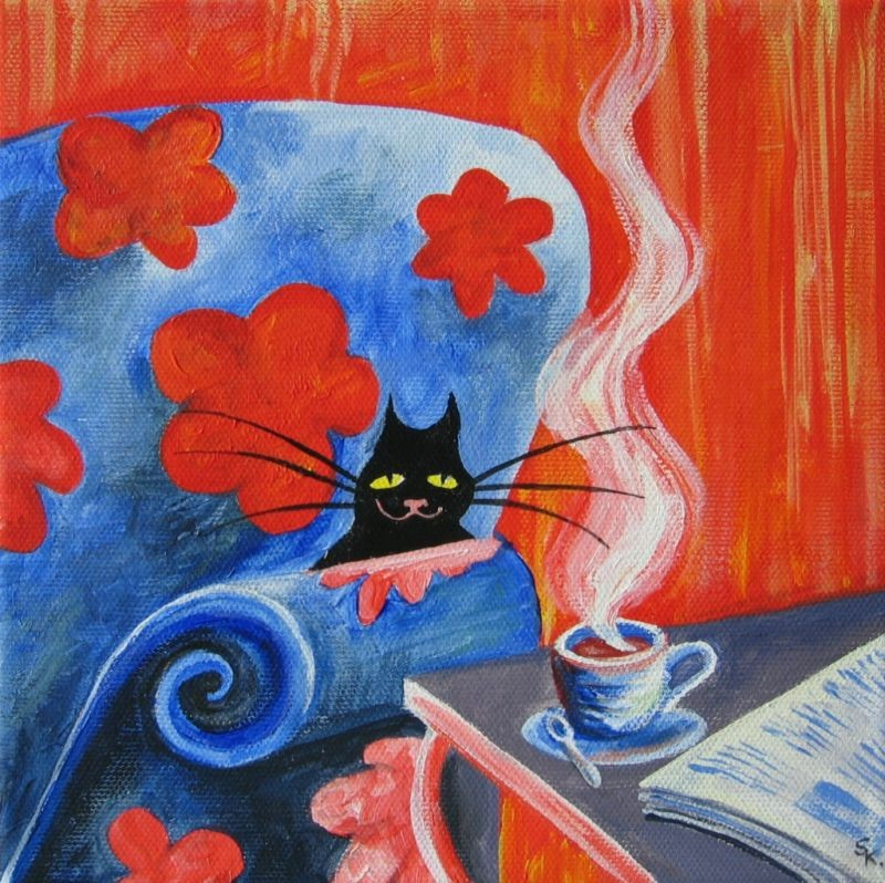 Schwarze Katze (Leinwand, 20x20cm)
