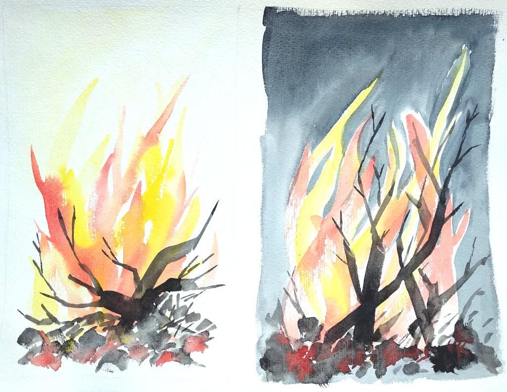 Tag- und Nachtfeuer (Aquarellpapier, 30x40cm)