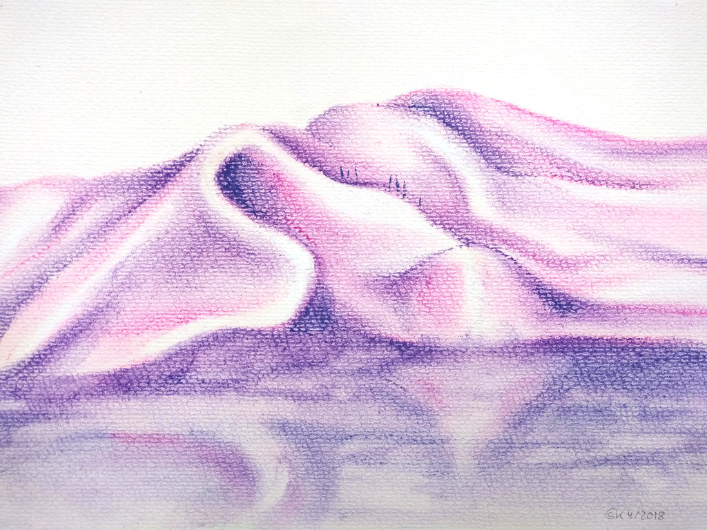 Tuchlandschaft (Pastellpapier, DIN A4)