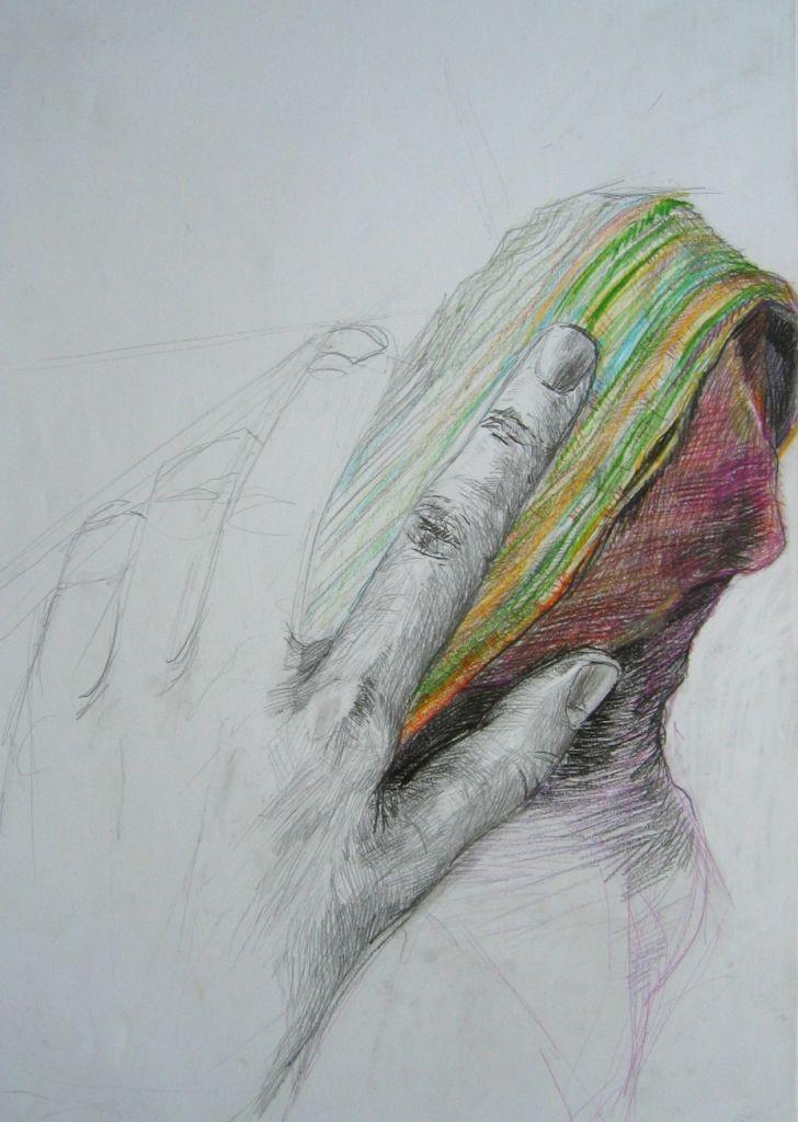 Hand mit Tuch (Zeichenpapier, DIN A2)