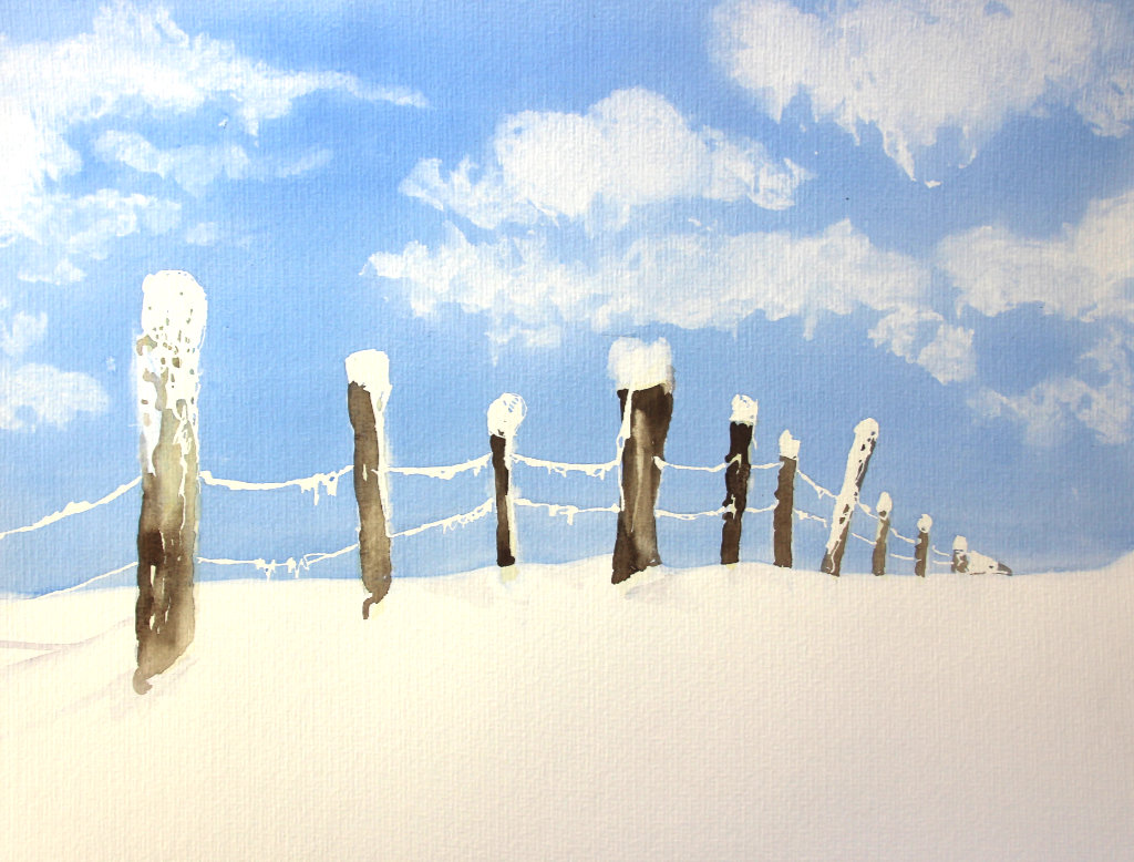 Winterzaun (Aquarellpapier, 30x40 cm)