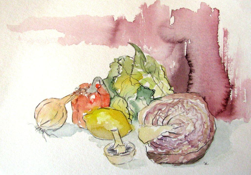 Gemüse (Aquarellpapier, 17x24cm)
