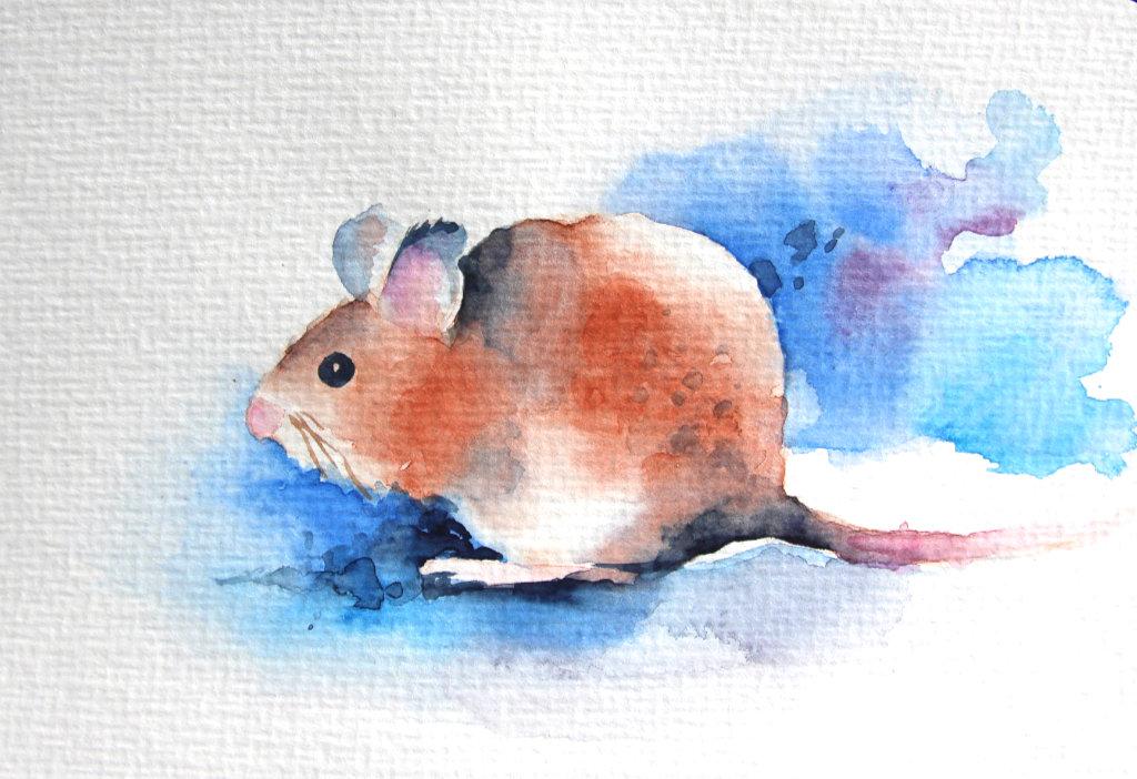 Maus (Aquarell-Postkarte)